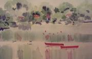 tableau paysages paysage draveil : Les Fouilles de la Seine