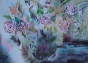 tableau roses : dans le jardin