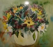tableau fleurs : bouquet fond vert