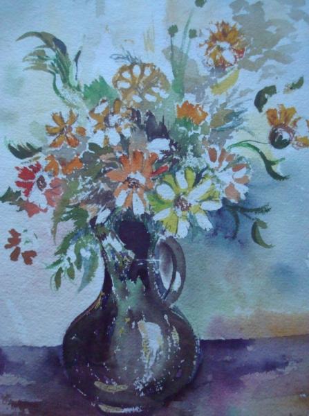 TABLEAU PEINTURE Fleurs Aquarelle  - vase noir