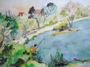 tableau paysages paysage seine pecheur : Pêcheur à Draveil
