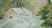 tableau paysages chalet neige sapin : paysage de neige