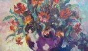 tableau fleurs : fleurs dans un vase rond