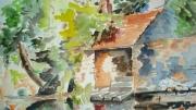 tableau paysages lavoir aquarelle : le lavoir
