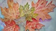 tableau nature morte aquarelle automne : feuilles d'automne