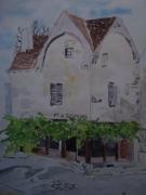 tableau paysages aquarelle provins maison ancienne : la maison des artistes