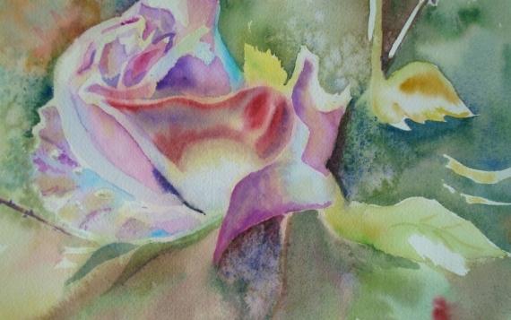 TABLEAU PEINTURE Fleurs Aquarelle  - bouton de rose