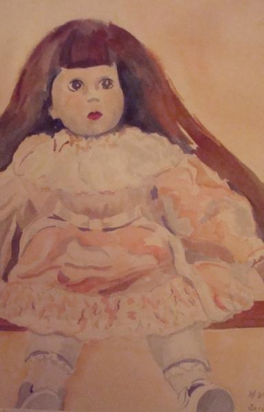 PAINTING aquarelle poupée Nature morte Aquarelle  - la poupée