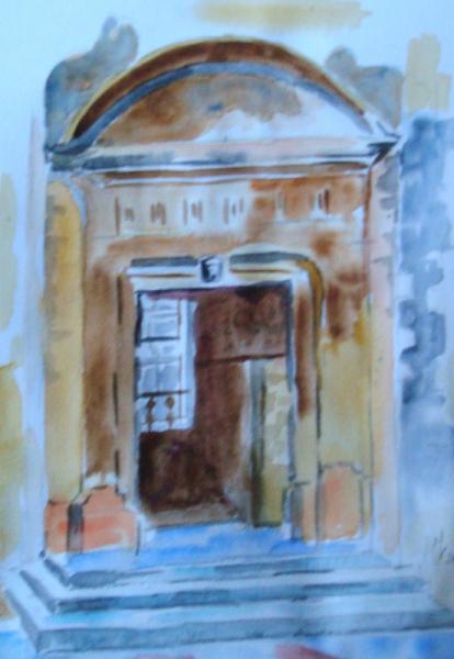 TABLEAU PEINTURE Porte - entrée - Nar Paysages Aquarelle  - vieille porte