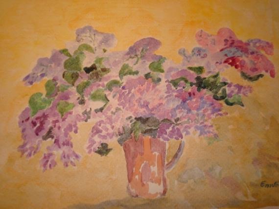 PAINTING lilas Fleurs Aquarelle  - lilas