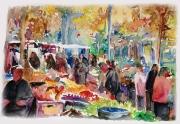 tableau scene de genre la marche ville ambiance foire : Le marché