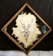 tableau animaux pyrogravure cerf papier animaux : Deer