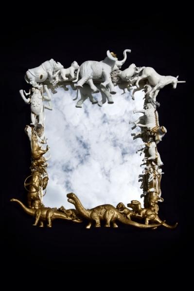 MIXTE animaux miroir or antique Animaux  - Miroir dinosaure