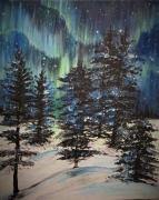 tableau paysages foret nature aurores boreales ciel : Aurore Boréale au pays des Vikings (2018)