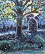 tableau paysages arbre montagne vegetation ruisseau : Solitude en douceur (2017)