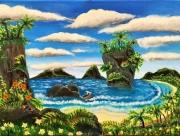tableau paysages plage tropicale mer pirate : Plage des Pirates (2018)