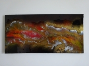 tableau abstrait lave volcan : LA COULEE