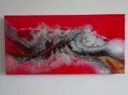 tableau abstrait rouge dore fantastique imaginaire : DRAGON ROUGE