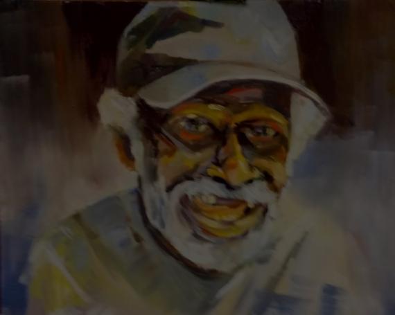 TABLEAU PEINTURE portrait regard casq expression regard Personnages Peinture a l'huile  - la casquette