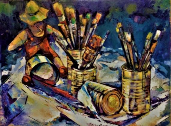 TABLEAU PEINTURE jeux couleurs pincea couleurs  pots Nature morte Peinture a l'huile  - PINOCCHIO