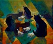 tableau animaux animaux chats chaton couleurs rouge bleu : LES CHATS