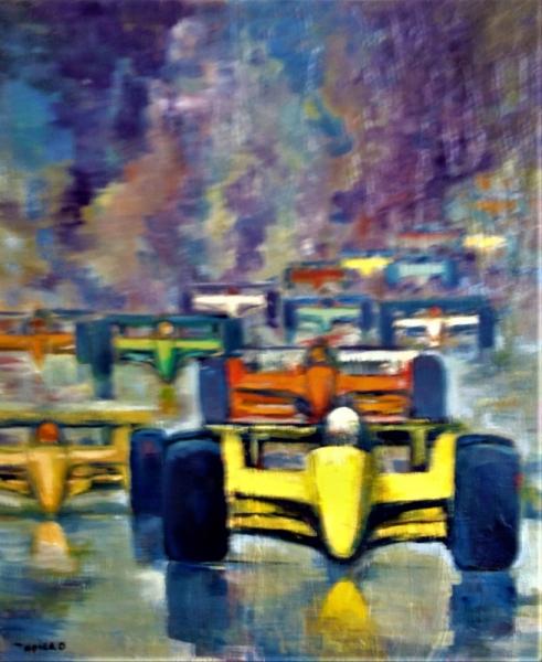 TABLEAU PEINTURE COURSE AUTOMOBILE FORMULE 1  MOUVEMENT COULEURS Sport Peinture a l'huile  - course automobile