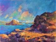 tableau marine mer rocher bleu vacances : rochers