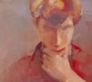 tableau personnages viage portrait mascu rouge clair moderne main expession : POINT D'INTERROGATION