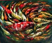 tableau animaux poissons eau mouveme couleurs animaux rou : poissons