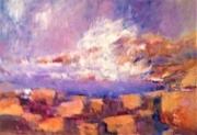 tableau marine rochers vague mer brume lumiere couleurs : VAGUE