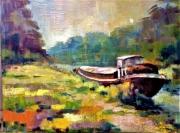 tableau marine peniche eau bateau canal toulouse bord de l eau couleurs : LA PENICHE