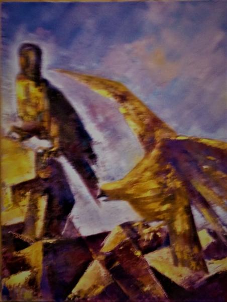 TABLEAU PEINTURE aigle combat nature Animaux Peinture a l'huile  - combat