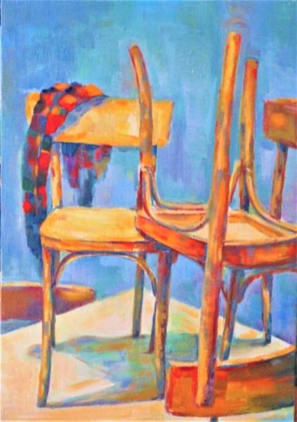TABLEAU PEINTURE chaise foulard origi Nature morte Peinture a l'huile  - foulard sur une chaise