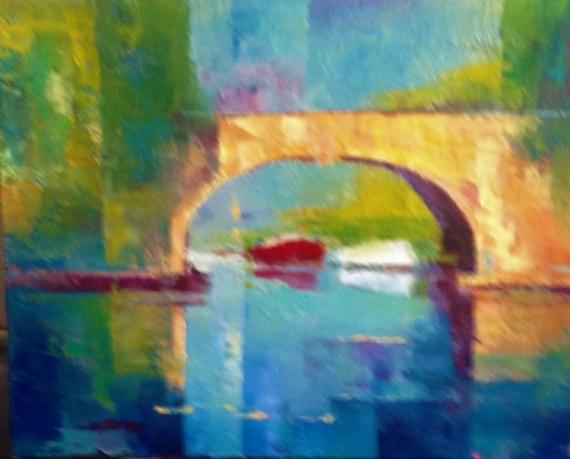 TABLEAU PEINTURE Pont lumiere Toulous Villes Peinture a l'huile  - Pont de Toulouse