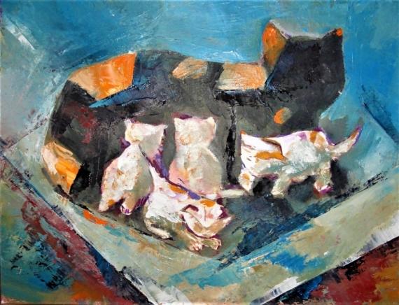 TABLEAU PEINTURE chats chatons chaleu Animaux Peinture a l'huile  - catons