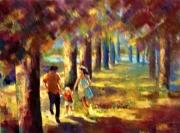 tableau paysages arbres prairie famille detente couleurs nature : EN FAMILLE