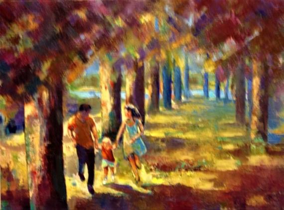 TABLEAU PEINTURE arbres, prairie famille détente couleurs nature Paysages Peinture a l'huile  - EN FAMILLE