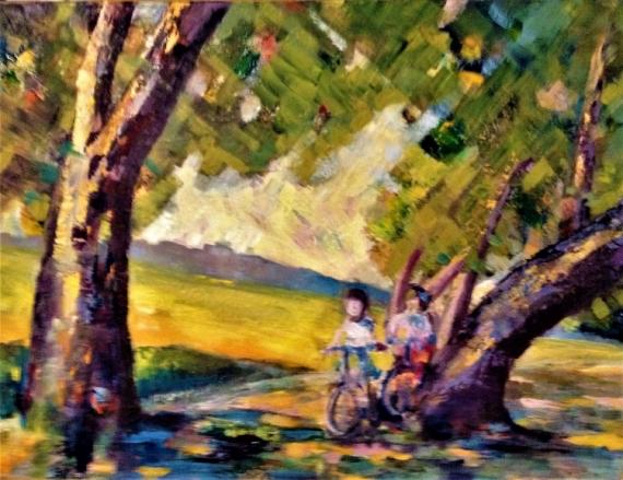 TABLEAU PEINTURE JEUX ENFANTS PRAIRIE PLEIN AIR VELOS COUL Peinture a l'huile  - LES ENFANTS