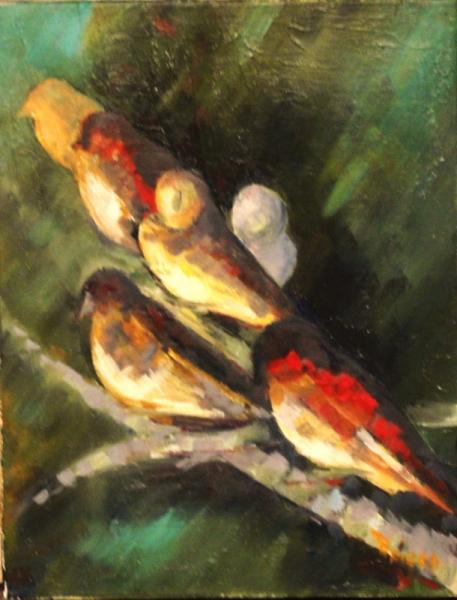 TABLEAU PEINTURE oiseaux couleurs Animaux Peinture a l'huile  - les oiseaux
