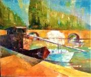 tableau marine pont peniche eau marine couleurs : les ponts jumeaux