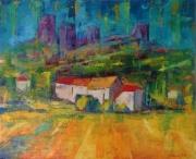 tableau paysages village soleil coule maisons rouge impressions : VILLAGE