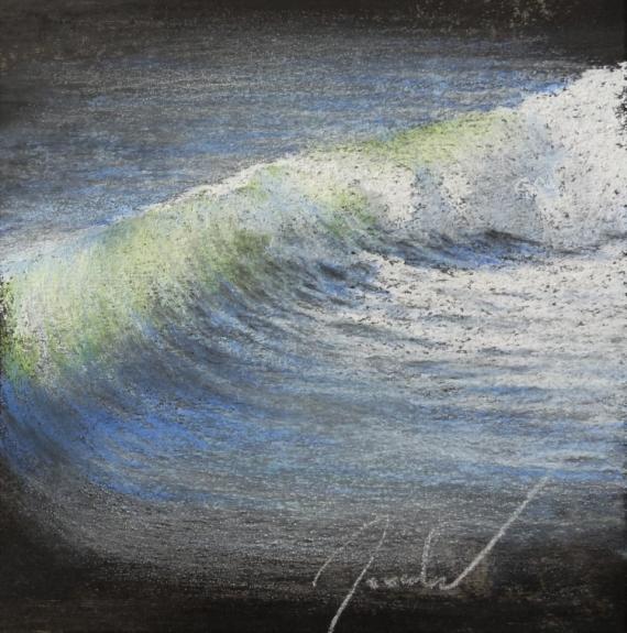 TABLEAU PEINTURE pastel petit format encadré tableau Marine Pastel  - Vague