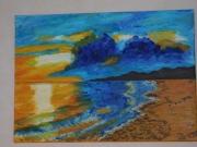 tableau marine france pyrenees orientales : Soleil couchant sur la mer