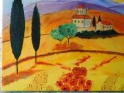 tableau paysages italie toscane habitation privee : la plaine de Toscane