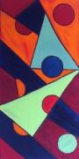 tableau abstrait geometrie graphique bleu rouge : graphique