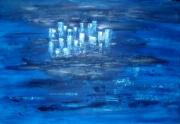 tableau abstrait mer ciel bleu relief ileville reve paysage : entre ciel et mer...