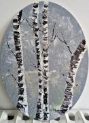 tableau paysages arbres carton entoile neige : Les bouleaux enneigés