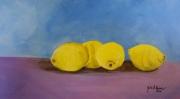 tableau nature morte citrons violet : Les citrons