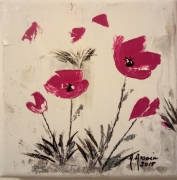 tableau fleurs carre rose fleurs : Note rose