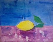 tableau nature morte citron bleu : Le citron